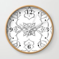 Floral Black and White Clock Wall Clock