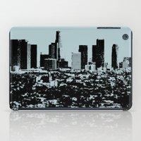 Downtown Los Angeles Skyline - Stamp Pattern on Light Blue iPad Case