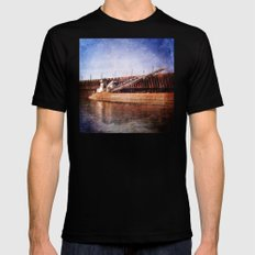 Vintage Great Lakes Freighter Mens Fitted Tee Black SMALL