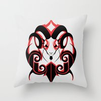 Warrior (Black & Red) Throw Pillow