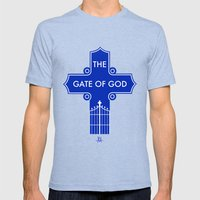 The Gate Of God Mens Fitted Tee Tri-Blue SMALL