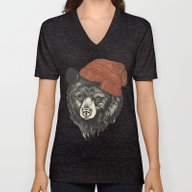 Unisex V-Neck featuring Zissou The Bear by Laura Graves