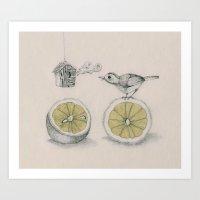 Lemon bird Art Print
