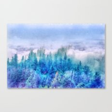 Clouds over pine forest Canvas Print