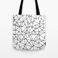 Abstract Heart Black on White Tote Bag