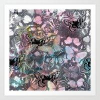 Watercolour butterflies Art Print