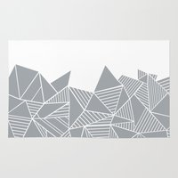 Abstract Mountain Grey on White Rug
