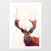 dream Art Prints featuring Red Deer // Stag by Amy Hamilton
