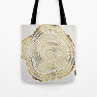 Tote Bag featuring Gold Tree Rings by Cat Coquillette