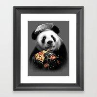 PANDA LOVES PIZZA Framed Art Print
