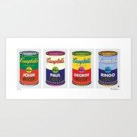 Horizontal Beatle Soup Cans Art Print