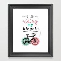 I Like Riding My Bicycle Framed Art Print