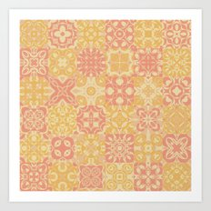 Pink and Yellow Grandmother's Quilt Art Print