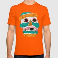 Stripy Skull  Mens Fitted Tee Orange SMALL