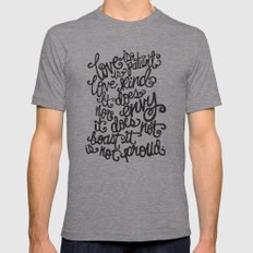 LOVE IS PATIENT... Mens Fitted Tee Athletic Grey SMALL