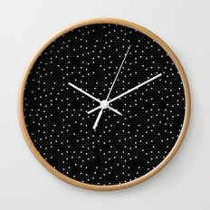 Pin Point Polka White on Black Repeat Wall Clock