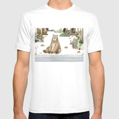 Mr.Brown is chilling by the river. Mens Fitted Tee White SMALL