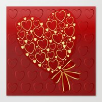 Gold hearts on rich red Canvas Print