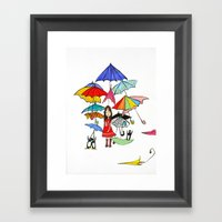 NYC Rain With Penguins Framed Art Print