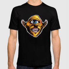 Happy Cycloptic Dog Eagle with a Stache (scratch back) SMALL Black Mens Fitted Tee