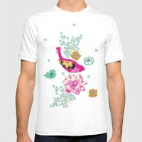 Birds and Blooms 1 Mens Fitted Tee White SMALL
