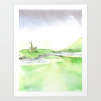Watercolor Ardvreck Castle Art Print