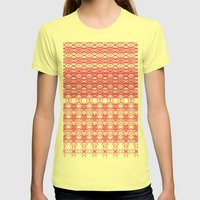 Filigree Floral Womens Fitted Tee Lemon SMALL