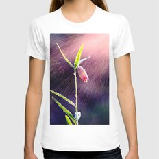 Flower Womens Fitted Tee White SMALL