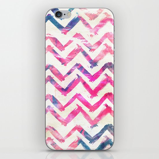 Abstract Pink Blue Chevron Pattern Art Watercolor iPhone & iPod Skin