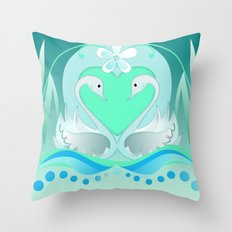 Two Swans In Love Throw Pillow