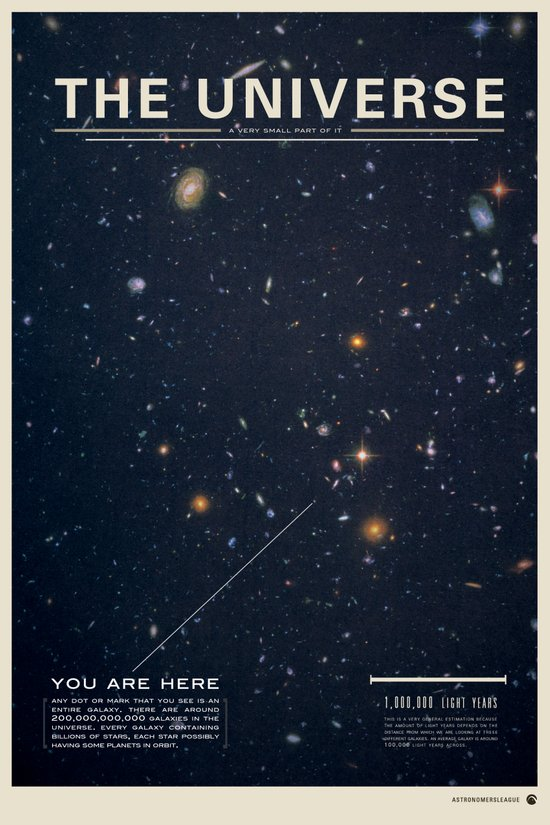 THE UNIVERSE - Space   Time   Stars   Galaxies   Science   Planets   Past   Love   Design Art Print