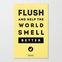 Flush and Make the World Smell Better (Yellow) Canvas Print
