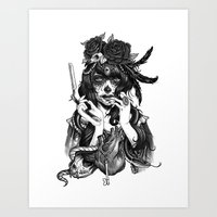 skull Art Prints featuring Chicana by Rudy Faber