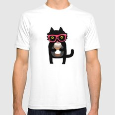 Black cat + coffee SMALL Mens Fitted Tee White
