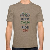 Keep Calm And Ride On Mens Fitted Tee Tri-Coffee SMALL