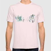 Mountains and the city Mens Fitted Tee Light Pink SMALL