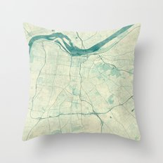 Louisville Map Blue Vint… Throw Pillow
