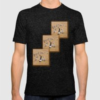 Flock of Seagulls at the Beach Mens Fitted Tee Tri-Black SMALL