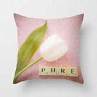 Pure - White Tulip Throw Pillow