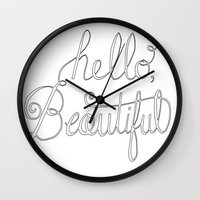 Hello beautiful quote hand-lettered Wall Clock