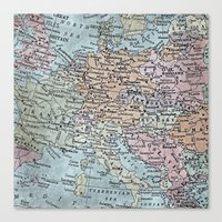 old map of Europe Canvas Print
