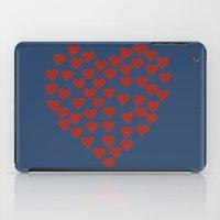 Hearts Heart Red On Navy iPad Case