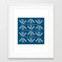 indigo wreath Framed Art Print