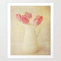 Textured Vintage Pink Tu… Art Print