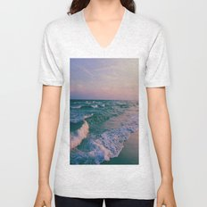 Sunset Crashing Waves  Unisex V-Neck