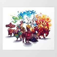 Team Llama – To the Rescue! Art Print