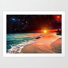 Galaxy beach Art Print