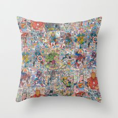 Vintage Comic Superheroes Galore (Limited Time) Throw Pillow