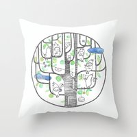 happy tree (black and green) Throw Pillow