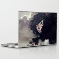 clouds Laptop & iPad Skins featuring Dark Clouds by loish